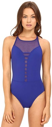 Bleu Rod Beattie Bleu | Rod Beattie Women's Meshing Around High-Neck One-Piece Swimsuit