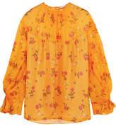 Emilia Wickstead Lauren Floral-print Silk-chiffon Blouse - Saffron