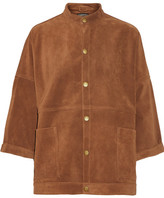 Current/Elliott The Tassled Oversized Chore Suede Jacket - Camel
