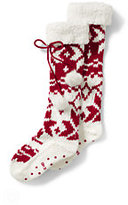Classic Women's Sherpa Cuff Slipper Socks-Rich Red Snowflake