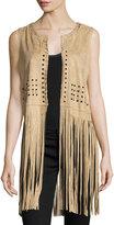 Neiman Marcus Whipstitched Faux-Suede Fringe Vest, Tan
