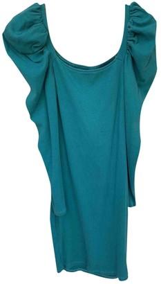 Non Signã© / Unsigned Manche ballon Turquoise Cotton Dresses