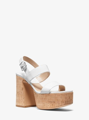 Michael Kors Blaire Leather and Cork Platform Sandal