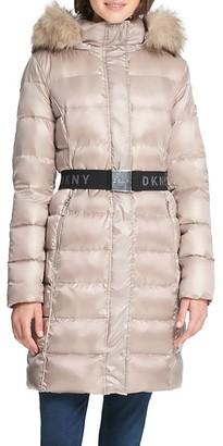 DKNY Puffer Faux-Fur Hood Coat