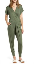 Loveappella Short Sleeve Wrap Top Jumpsuit
