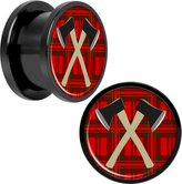 """Body Candy Black Anodized Stainless Steel Plaid Crossed Axes Screw Fit Plug Pair 9/16"""""""