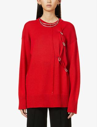 Chain-embellished wool jumper