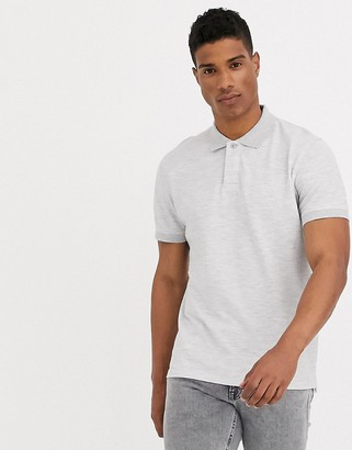 Selected waffle knit polo in light grey
