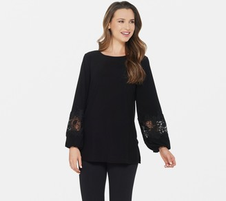 Dennis Basso Caviar Crepe Tunic with Lace-Trimmed Sleeves