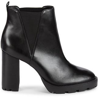 Saks Fifth Avenue Stacked Heel Leather Chelsea Lug Booties