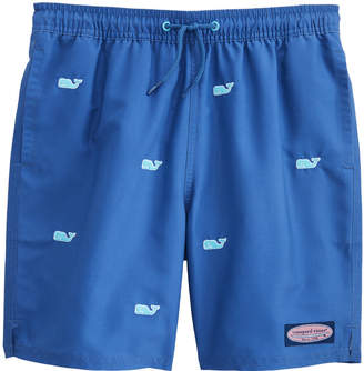 Vineyard Vines Boys Whale Embroidered Fine Stripe Chappy Trunks
