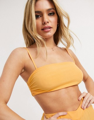 Asos DESIGN mix and match simple square neck crop beach top in crinkle