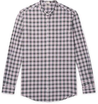 Massimo Alba Noto Grandad-Collar Checked Cotton-Poplin Shirt