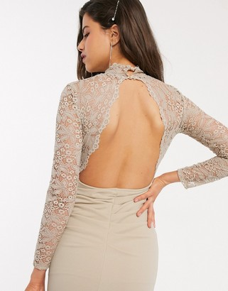 TFNC Bridesmaid long sleeve lace scalloped maxi with ruched back in sand