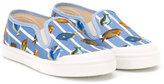 Pépé fish print deck shoes - kids - Cotton/Leather/rubber - 24