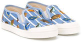Pépé fish print deck shoes - kids - Cotton/Leather/rubber - 30
