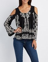 Charlotte Russe Printed Strappy Cold Shoulder Top