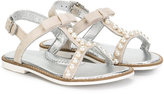MonnaLisa pearl embellished sandals - kids - Leather/Suede/rubber - 30
