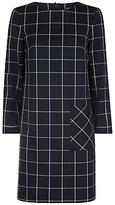 Jaeger Patch Pocket Check Dress, Navy/Ivory