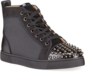 Christian Louboutin Men's Lou Spikes Orlato High-Top Sneakers