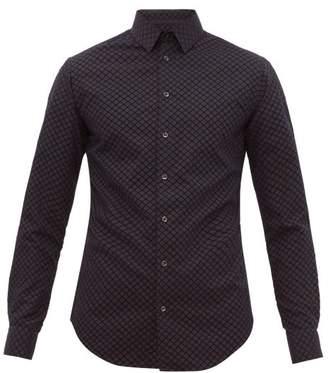 Giorgio Armani Geometric Flocked-velvet Shirt - Mens - Black Navy