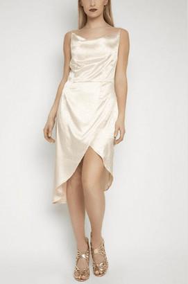 Gini London Asymmetric Satin Dress in Cream