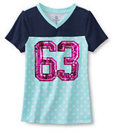 Classic Little Girls V-neck Embellished Graphic Tee-Rosa Red Graphic