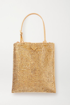 Prada Vela Mini Leather-trimmed Crystal-embellished Nylon Tote - Gold