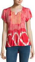 ONE WORLD APPAREL One World Apparel Short Sleeve Solid Peasant Top
