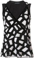 Yigal Azrouel geometric pattern tank - women - Polyester/Viscose - 0