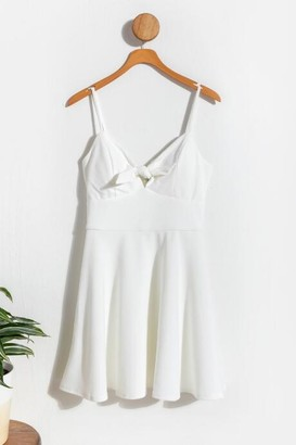 francesca's Perri Front Tie Mini Dress - White