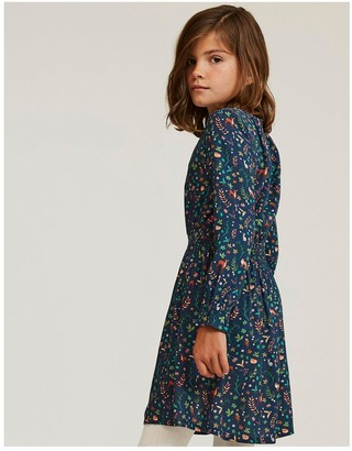 Fat Face Girls Woodland Floral Dress - Navy
