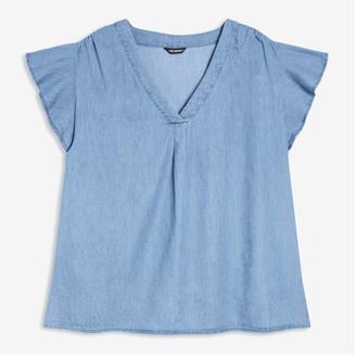 Joe Fresh Women+ Flutter Sleeve Top, Medium Wash (Size 2X)