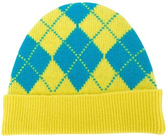 Pringle Reissued argyle Intarsia beanie hat