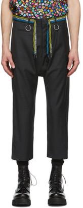 R 13 Grey Shoelace Belt Trousers