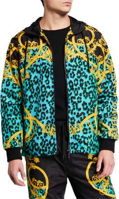 Versace Men's Leo Chain-Print Nylon Jacket
