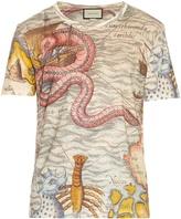 Gucci Sea map-print linen T-shirt