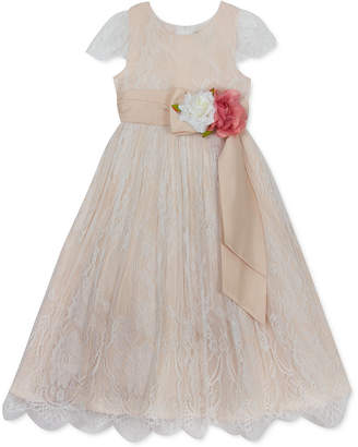Rare Editions Little Girls Embroidered Flower-Waistband Dress