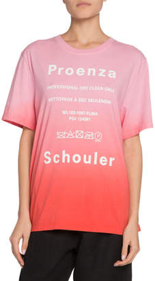 Proenza Schouler White Label Ombre Tie-Dye Short-Sleeve Logo Jersey T-Shirt
