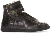 Maison Margiela Black Distressed Leather High-Top Future Sneakers