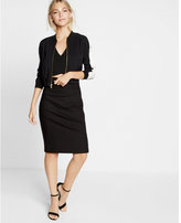 Express Petite High Waisted Side Zipper Midi Pencil Skirt