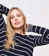 LOFT Petite Stripe Mixed Rib Sweater