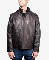 Boston Harbour Men's Leather Stand-Collar Bomber Jacket