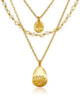 Satya Jewelry Pearl, Lotus and Tree Triple Charm Pendant Necklace,16""