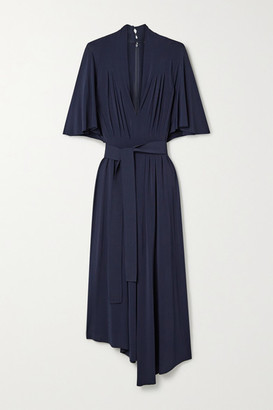 Adam Lippes Asymmetric Belted Pleated Stretch-jersey Midi Dress - Midnight blue