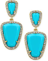 ABS by Allen Schwartz Gold-Tone Blue Stone Double-Drop Earrings