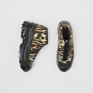 Burberry Leopard Print Nylon and Suede Arthur Sneakers