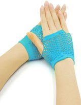 uxcell® Lady Wrist Length Stretch Fingerless Fishnet Gloves 2 Pairs