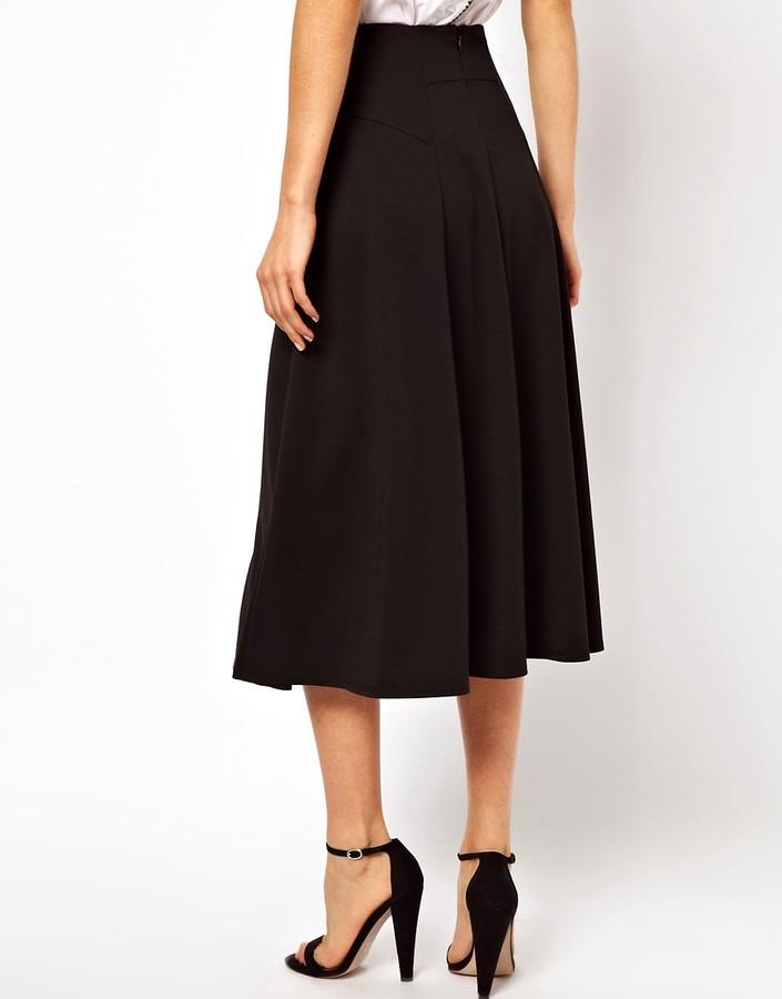 Asos Midi Skirt with Stitch Waist Detail