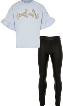 River Island Girls Blue frill t-shirt wetlook leggings set